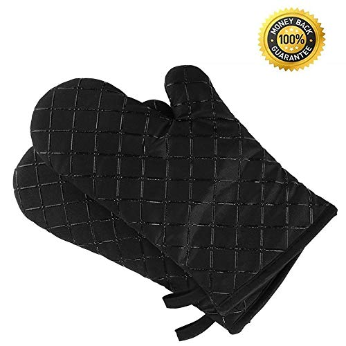 Premium Anti-Rutsch Ofenhandschuhe (2er Set) bis zu 240 °C - Silikon Extrem Hitzebeständige Grillhandschuhe BBQ Handschuhe - Backofen Handschuhe, zum Kochen, Backen, Barbecue Isolation Pads, Schwarz