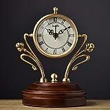 Relddd Kaminuhr Kaminuhren,Antike sitzen Wohnzimmer stumm Schmuck Ornamente reines Kupfer Uhr 17,5 * 22 * 8 cm