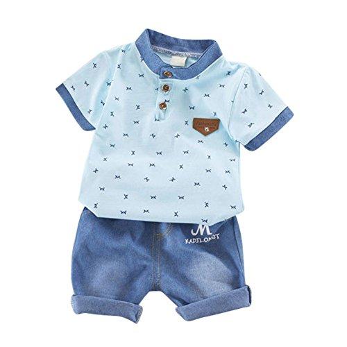 Blaward Baby Jungen Kinder Kurzarm-Cartoon-Shirt mit coolen Jeans Shorts Anzug Kleidung Set - Baby Sommer Kleidung