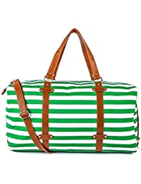 Kleio Unisex Striped Duffle Weekend Travelling Bag For Women