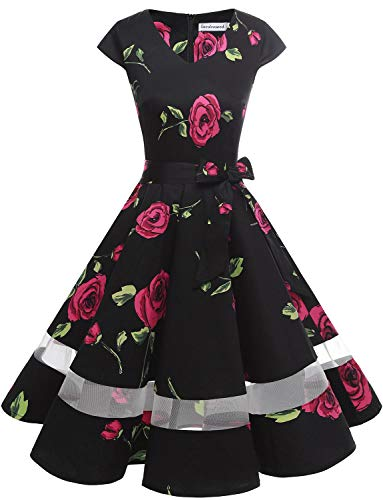 tage Retro Cocktailkleid Cap Sleeves Rockabilly Kleider Damen Schwingen Petticoat Faltenrock Black Rose M ()
