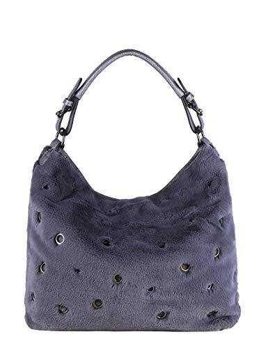 Solada borsa hobo in ecopelliccia donna grigio tessuto