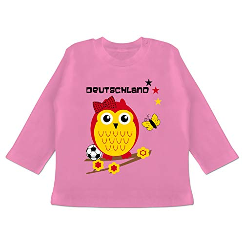 Fußball-Europameisterschaft 2020 - Baby - Deutschland Eule - 6-12 Monate - Pink - BZ11 - Baby T-Shirt Langarm -