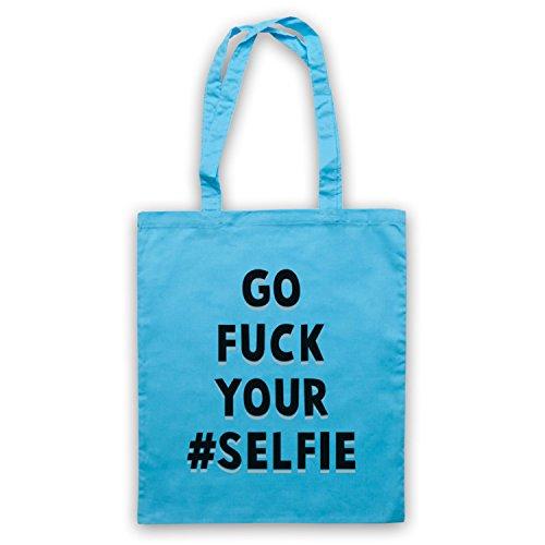 Go Fuck Your Selfie Funny Slogan Umhangetaschen Hellblau