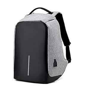 LEDMOMO Zaino antifurto con porta di ricarica USB con cerniere nascoste e capacità di volume più grande impermeabile per viaggi di scuola (grigio)