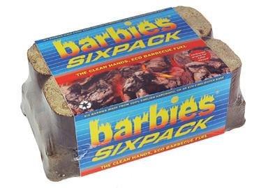 3 x Barbies Six Pack Wood Briquettes - The new Eco Alternative to Charcoal briquettes