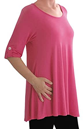 Eyecatch TM Oversize - Jessica Womens Tunic Plus Size Scoop Neck Ladies Flared Long Top Coral Size 14