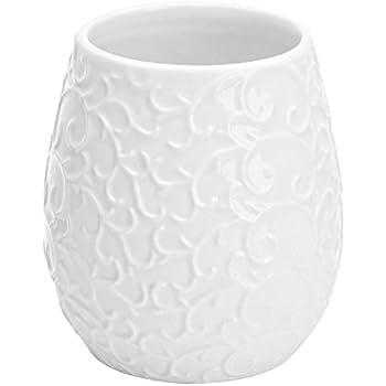 FERIDRAS Glam Portaspazzolino Bianco 9.5x9.5x10.5 cm Ceramica