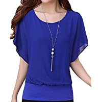 flywinner Women All-match Chiffon Blouse O-Neck Plus Size Short-Sleeve Tops T Shirt Blue Small