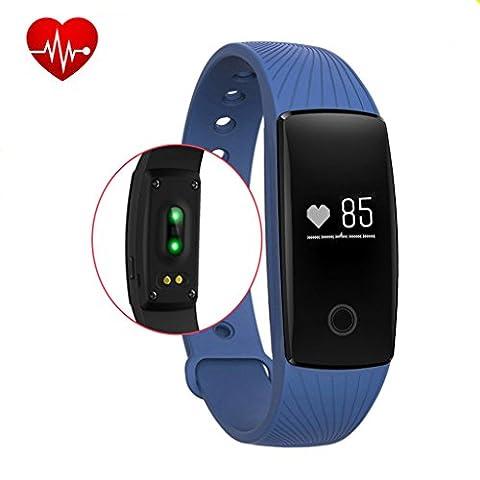 Fitness Tracker,Rixow Bluetooth 4.0 Smart-Sync-Armband, Wasserdicht IP65 Sport Armband Fitnessarmband mit Herzfrequenz / Schrittzähler / Kalorienzähler / Schlaf-Monitor / SMS Anrufe für