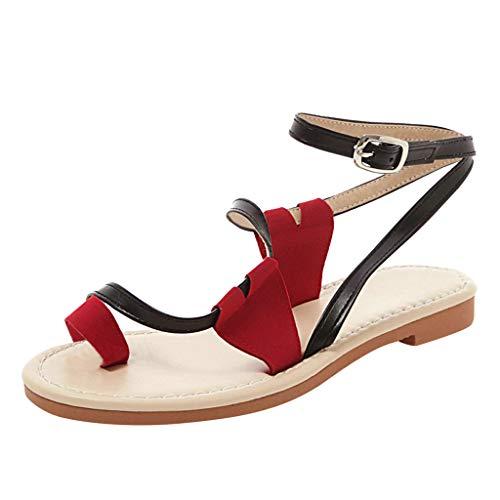 iYmitz Damen Flache Sandalen Set Toe Schuhe mit Gürtelschnalle Sommer Strand Schuhe Frauen Freizeit Sandaletten(Schwarz,EU/42)
