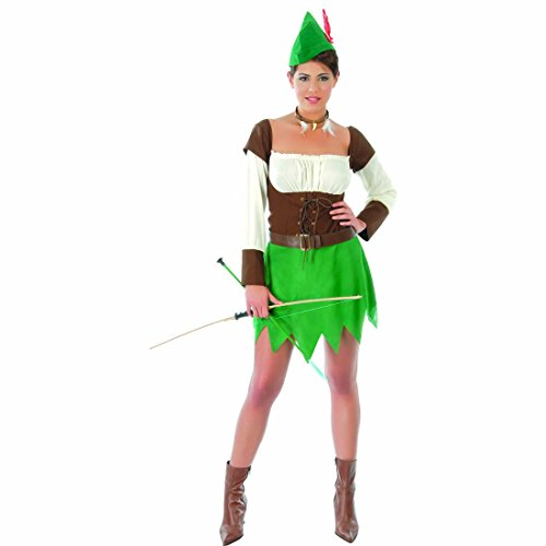 Costume medievale viandante della foresta Travestimento da arciere donna L 46/48 Outfit da ladra Completo stile medioevo per festa in maschera Abito da tiratrice Vestito di carnevale da Robin Hood per donne