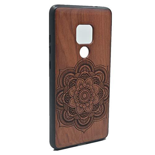 RoseFlower® Luxus Holz Schutzhülle für Huawei Mate 20 (6.53 Zoll) - Palisander Mandala Blume Handyhülle - Natürliche Handgemachte Holzhülle Hülle Handytasche Handy Case Cover