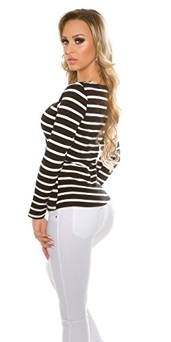 jowiha® Langarm Damen Top Shirt mit Schnürungen gestreift Schwarz