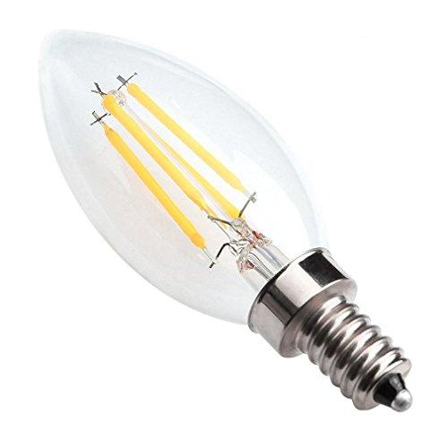 4 Unzen Kerze (Kakanuo C35 4W Dimmbare E14 LED Lampen Filament Birne Heizfadenvorwärmungszeit Warmes Weiß 2700K 360lm Equivalent 40W E14 Abstrahlwinkel 360 ° [Energieklasse A ++])