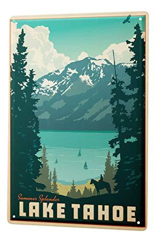 WallAdorn World Tour Lake Tahoe Eisen Poster Malerei Blechschild Vintage Wall Decor für Cafe Bar Pub Home - Tahoe Schlafzimmer