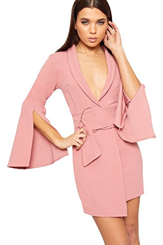 WEARALL - Damen Wickeln Über Mini Blazer Kleid Damen Asymmetrisch Belted Schleife Lang Hülle Top - Dunkles Rosa - 36 (Maxi-kleid Wickeln)