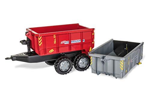 Rolly Toys rollyContainer Set (für Kinder von 3-10 Jahre, Zweiachsanhänger, 2 Absetzmulden, Kippfunktion, Farbe grau/rot) 123933
