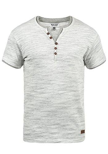 Indicode Aldred Herren T-Shirt Kurzarm Shirt Mit Grandad-Ausschnitt, Größe:XL, Farbe:Grey Mix (914)