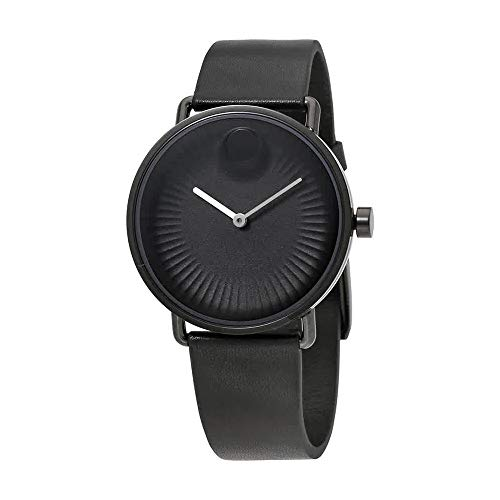 Movado Men' s 40 mm Black silicone Band Steel case Quartz Analog Watch 3680039