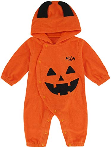 Baby Kostüm Pyjama & Kleinkind Kürbis - MOMBEBE COSLAND Halloween Kostüm Baby Jungen Kürbis Strampler (18-24 Monate, Orange)