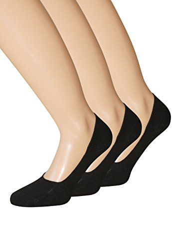 Füsslinge Sneaker Socken schwarz weiss hautfarben für Damen und Herren aus BAUMWOLLE Gr. 39-42, 3 Paar schwarz