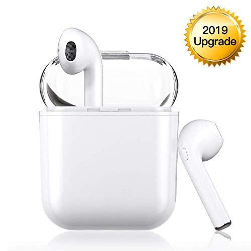 Kabellose Kopfhörer Bluetooth V5.0, tragbares Freisprecheinrichtung, kompatibel mit iPhone X, 8, 8 Plus, 7, 7 + 6S, Samsung Galaxy, iOS, Android Smartphone (White)