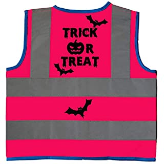 Acce Products Trick or Treat Baby/Children/Kids Hi Vis Safety Jacket/Vest Size 7-9 Years Pink Optional Personalised On Front