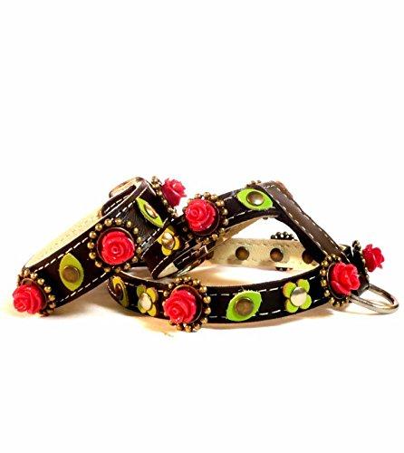 Set Harnais Petit Chien Chiot Chihuahua et Moyen avec Bracelet a Jeux, Gothique en Cuir Noir avec de Belles Roses Rouges et des Douces Feuilles Vertes, ML; Cou: 32-37 cm, Poitrail: 47-52 cm