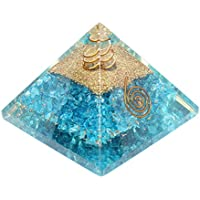 Charged Blue Onyx Orgone Pyramid – Certified Orgonite Healing Crystal & Copper MultiMineral Bio–Energy Enhancing Tool