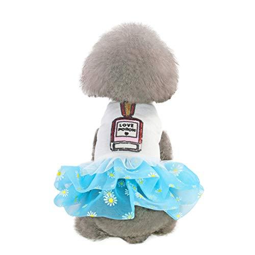 Xmiral abiti per cani di piccola taglia senza manica abbigliamento cerimonia vestiti per cani morbida eleganti vestiti fantasia primavera abiti cucciolo matrimonio animali domestici xl blu