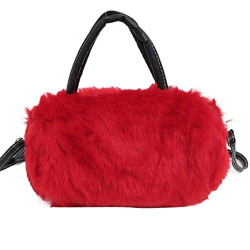 Koly_Spalla delle donne Bauletto Crossbody del Tote della borsa della borsa Messenger (Rosso)