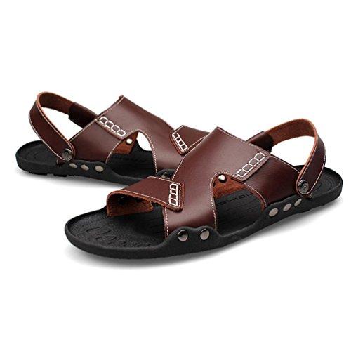 SHANGXIAN Gioventù di anti-scivolo di uomini infradito in estate Casual in pelle sandali (due generi di tees) Brown