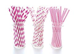 Hot Pink Straws (75 Pack) - Bachelorette Party Straws, Princess Girl Birthday Party Straws, Girls Night Out Party Supplies