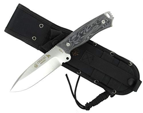 J&V Knives CHACAL Outdoor Camping Survival Bushcraft Jagdmesser Überlebensmesser Messer - Stahl MOVA - Cordura Scheide - Single Edge - Premium Qualität -