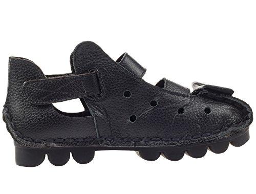 Vogstyle Femme cuir faits à la main des chaussures plates à brides velcro Noir Style-2
