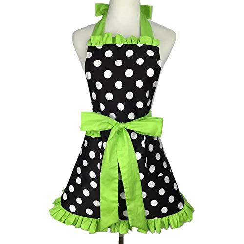 Mädchen Grüner Salon Kostüm - OGAWOO Schöne Schatz Retro Küchenschürzen für Frau Mädchen Baumwolle Polka Dot Kochen Salon Pinafore Vintage Schürze Kleid, grün