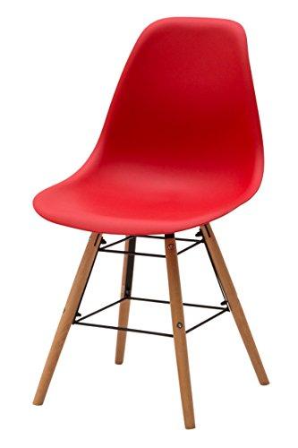 White Loft, Set de 4 chaises, Bois, Rouge, 47 x 52 x 84 cm