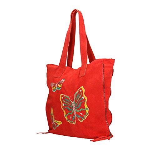 Chicca Borse Borsa a tracolla in pelle 37x37x6 100% Genuine Leather Rosso