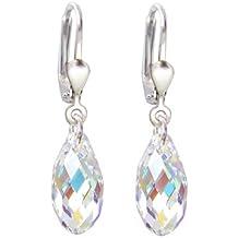 schoener-sd, pendientes de 925plateado con cristales Swarovski® (13mm, lágrima, Briolett corte, Crystal Aurora Boreale