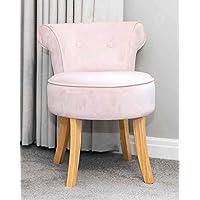 SR Pink Velvet Vanity Dressing Table Stool Natural Wooden Legs