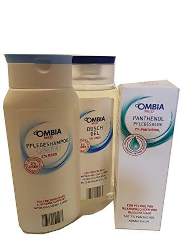 Ombia med Panthenol Pflegesalbe + sensitiv Shampoo + Duschgel mit 5% Urea