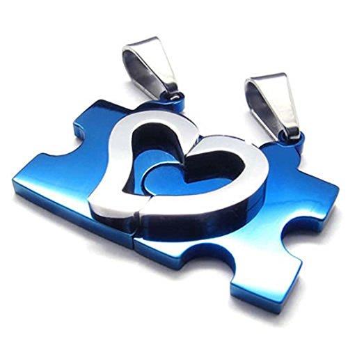SODIAL Joyeria 1 Par de Cadenas de amistad Puzzle de corazon de Amor Colgante de acero inoxidable con 45cm y 55cm Collar para senoras Collar de caballeros, Azul Plata