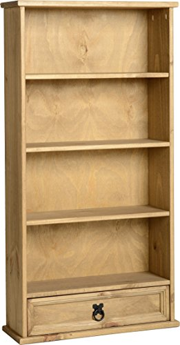 corona-mexican-1-drawer-bookcase-dvd-rack-storage-unit-solid-pine-waxed-finish-by-corona