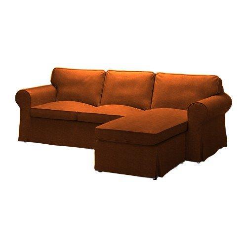 Pimp your Couch Ektorp 2er-Sofa Bezug mit Recamiere Rechts Bezug - Kunstleder Vintage [Cognac]