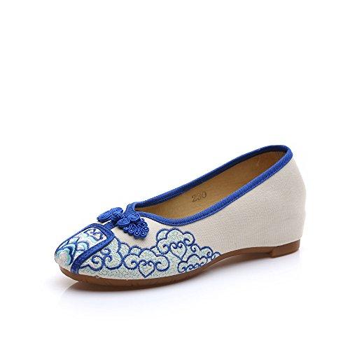 DESY Scarpe ricamate, suola a tendina, stile etnico, scarpe da donna, moda, comodo, casual Blue