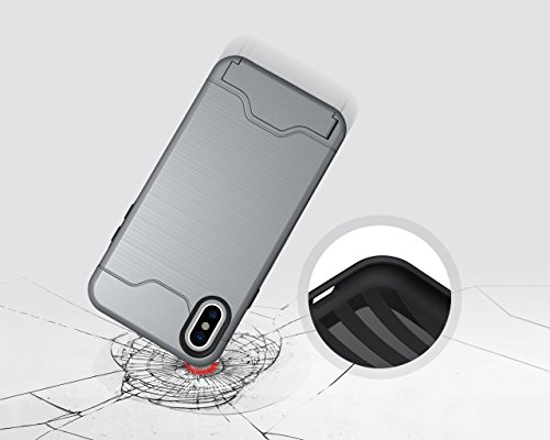 Case for iPhone 8, iPhone 8 Case, iPhone 8 Cases, iPhone 8 Back Case, SICAS ( TM ) iPhone 8 Hybrid Wallet Case Protective Hard Cover Skin Card Holder for iPhone 8-Gray Gray