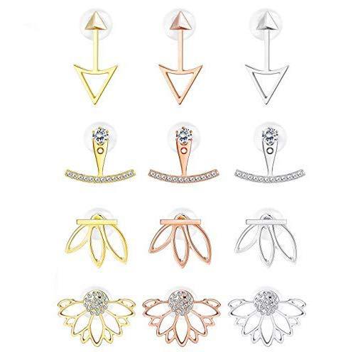 Milacolato 12Pairs Ohrringe Damen Clip Ohrringe Jacke CZ Stud Lotus Blume Ohrringe Set Für Frauen Bërgsteiger Ohrringe