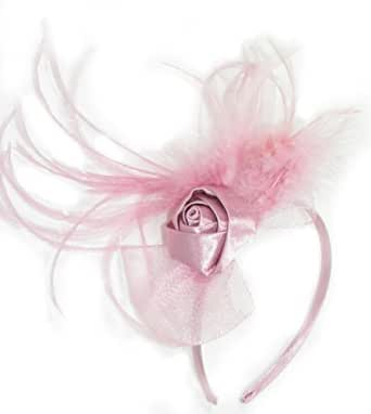 EleElegant net bow and silk rose fascinator with feather tendrils on head band. Available in 5 colours; Black, Cream, Gold, Grey or Pink. Ideal for weddings, races, Ladies days or any other special occasion. (Pink)