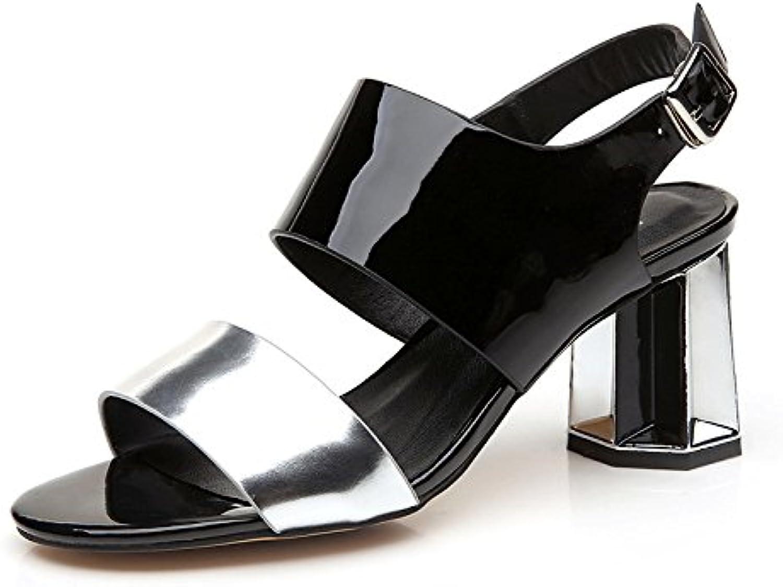 YMFIE Verano nueva personalidad moda colorear cómoda parte banquete sandalias de tacón damas zapatos de tacón alto,34,a la UE 34 EU|a